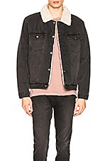 ROLLA'S Denim Sherpa Jacket in Stone Black