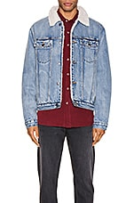 ROLLA'S Denim Sherpa Jacket in Dust Blue