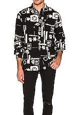 ROLLA'S Bon Backyard Long Sleeve Shirt in Black & Bone