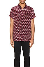 ROLLA'S Beach Boy Shirt in Geo Diamond & Black/Berry
