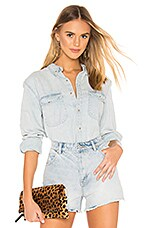 ROLLA'S Slouch Denim Shirt in Bleach Blue