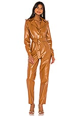 Ronny Kobo Alie Faux Leather Jumpsuit in Cognac