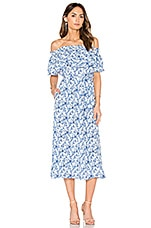 Rebecca Taylor Off Shoulder Aimee Dress in Blue Combo