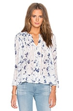 Long Sleeve Meteor Flower Print Top en Indigo & Sel
