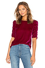 Rebecca Taylor Ruched Sleeve Velvet Top in Cranberry