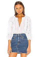 Rebecca Taylor Livy Eyelet Top in Milk