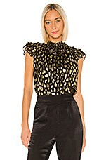 Rebecca Taylor Sleeveless Leopard Metallic Top in Black Combo