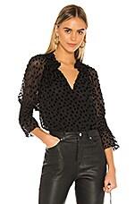 Rebecca Taylor Long Sleeve Velvet Dot Top in Black