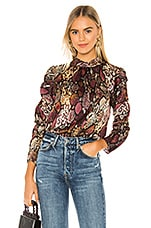 Rebecca Taylor Long Sleeve Snake Mock Top in Multi Combo