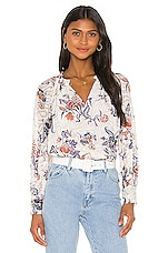 Rebecca Taylor Long Sleeve Toile Top in Snow Combo