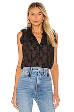 Rebecca Taylor Sleeveless Vine Embroidery Top in Black Combo