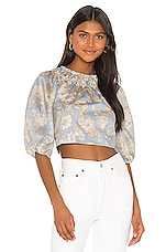 Rebecca Taylor Long Sleeve Satin Leaf Top in Sky Combo