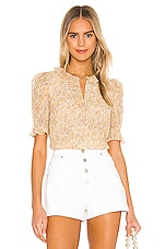 Rebecca Taylor Short Sleeve Soleil Floral Top in Soft Lemon Combo