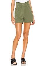RtA Ellena Pleated Waistband Short in Military Green