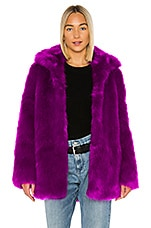 RtA Kate Faux Fur Jacket in Magenta