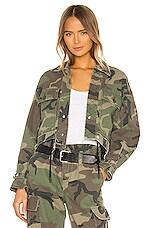 RtA Carlita Cropped Military Jacket in Woodland Camo