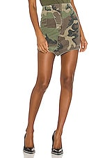 RtA Loretta Asymmetric Skirt in Woodland Camo