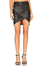 RtA Ivy Leather Skirt in Noir