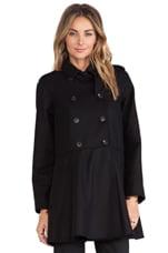 Red Valentino Wool Pea Coat in Black