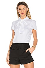 Tie Neck Short Sleeve Top in Bianco Ottico