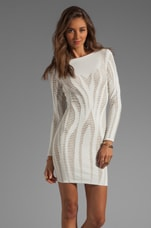 Cutout Illusion Jacquard Long Sleeve Dress in White/Sand