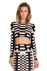Mondrian Jacquard Long Sleeve Crop Top in Tan & Black & White