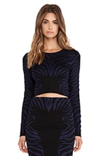 Zebra Textured Jacquard Long Sleeve Crop Top in Black & Navy