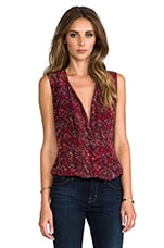 Kiara High-Low Blouse in Red Multi