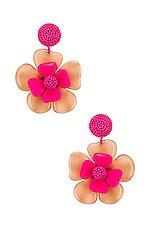 Sachin & Babi Horn Flower Earrings in Ivory & Fuchsia