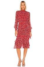 SALONI Isa Ruffle Dress in Harati Rouge