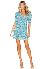 SALONI Colette Mini Dress in Turquoise Wildflower