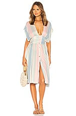 Salinas Button Down Dress in Pastel Stripe