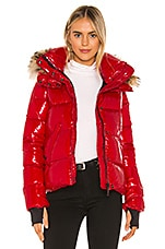 SAM. Fur Anabelle Puffer Jacket in Salsa & Natural