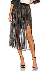 Sanctuary Timeless Pleated Midi Skirt in Black Sparkle