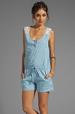 Sanctuary Lace Back Romper in Chambray