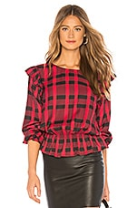 Sanctuary Millie Ruffle Blouse in Cherrywine Plaid