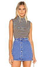 Sanctuary Essential Sleeveless Mock Neck Top in Fall Stripe