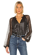 Sanctuary Live It Up Volume Blouse in Black & Silver