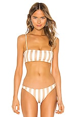 SKIN BY SAME Bandeau Top in White & Nude Stripe