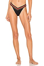 Sauvage High Rise Rio Bikini Bottom in Black, Red & Gold