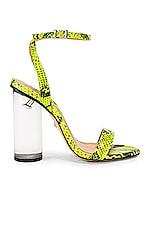 Schutz Valencia Heel in Neon Yellow Snake