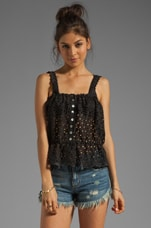 STONE_COLD_FOX Youth Crop in Black Eyelet