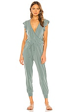 SUNDRY Flutter Sleeve Jumpsuit in Pigment Fern