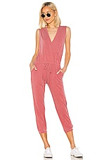 SUNDRY Wrap Jumpsuit in Pigment Marsala