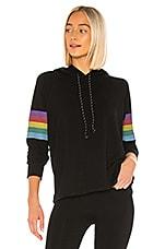 SUNDRY Rainbow Stripes Hoodie in Black