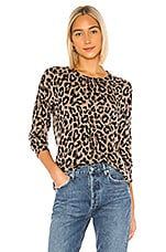 SUNDRY Leopard Cashmere Blend Crew Neck Sweater in Oatmeal