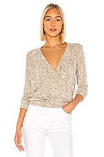 SUNDRY Snake Print Wrap Sweater in Sand