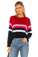 SUNDRY Stripes Crew Neck Sweater in Red & Navy