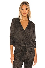 SUNDRY Leopard Print Wrap Sweater in Charcoal