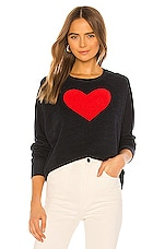 SUNDRY Heart Raglan Cut Off Sweatshirt in Navy